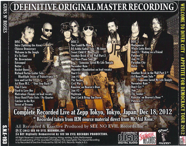 Welcome To Diver City bootleg Guns N' Roses Tokyo 2012 back cover