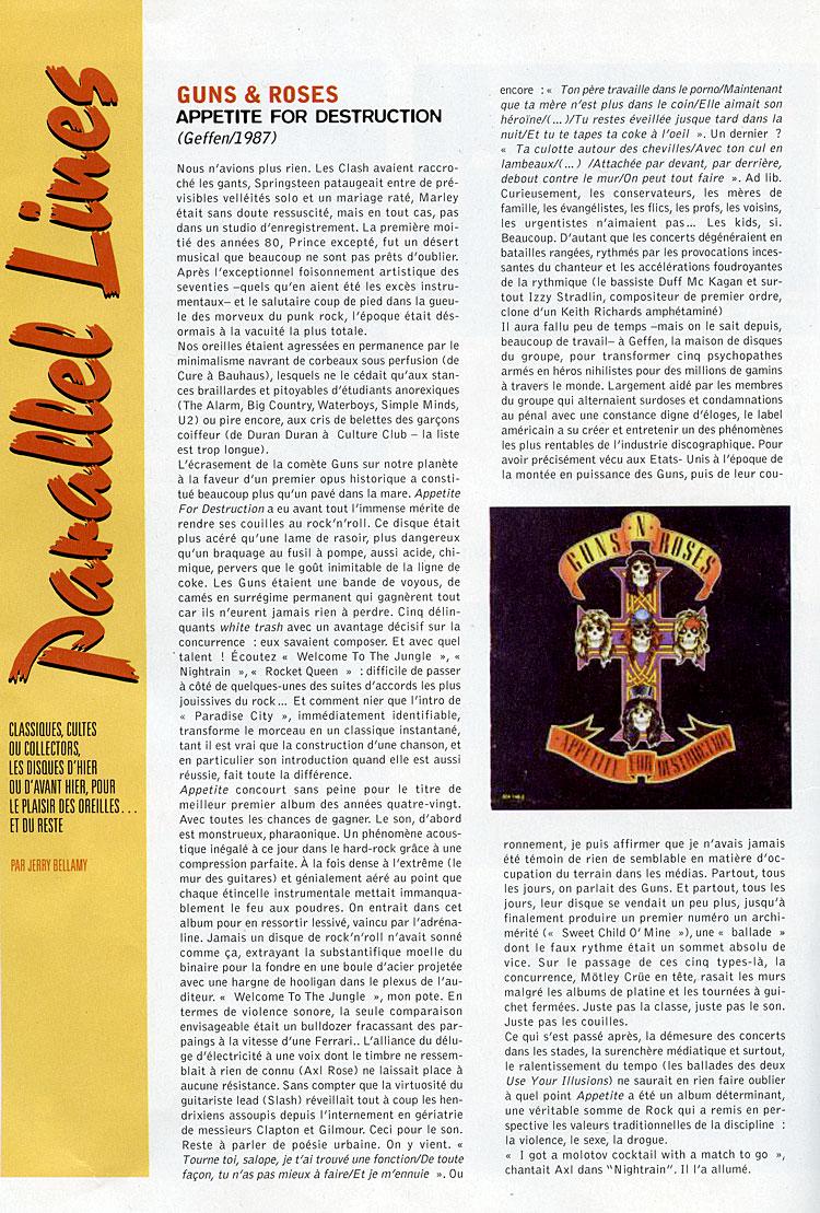 XRoads - Octobre 2007 - Chronique d'Appetite For Destruction
